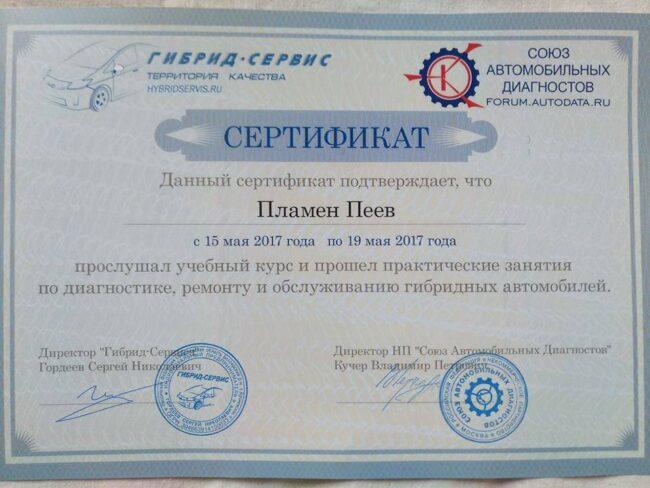 Сертификат Сервиз Хибрид
